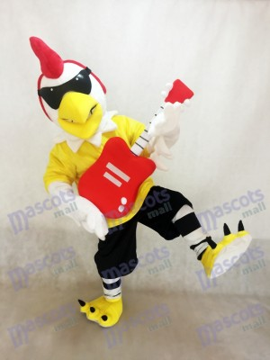 Rooster with Guitar Rockin Chicken Mascot Costume Mascot Costume