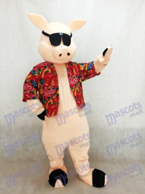 Pig Piglet Hog with Shirt & Sunglasses Mascot Costume