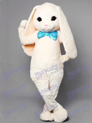 White Bunny Easter Rabbit Hare with Blue Bow Mascot Costume Animal