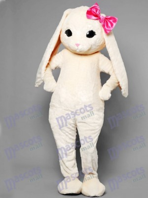White Bunny Easter Rabbit Hare with Pink Bow Mascot Costume Animal
