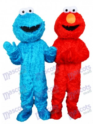 Sesame Street Blue Cookie Monster and Red Elmo Mascot Costume Cartoon Anime