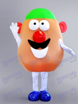 Mr. Potato Mascot Costume with a Green Hat Cartoon Anime