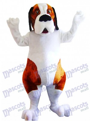 White and Brown Saint Bernard Dog Mascot Costume