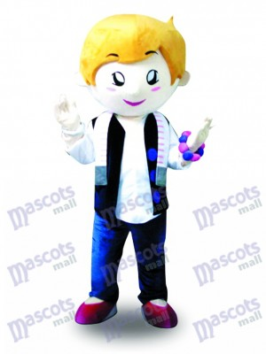 Yellow Hair Vest Boy Mascot Costume Cartoon