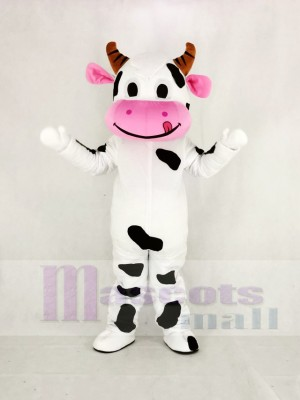 Cute Cow with Pink Mouth Mascot Costume Cartoon