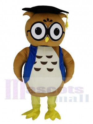 Brown Doctor Owl in Blue Vest Mascot Costume Animal