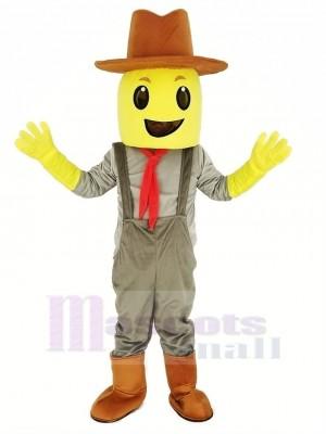 Blockhead Corn Crop Cowboy Mascot Costume
