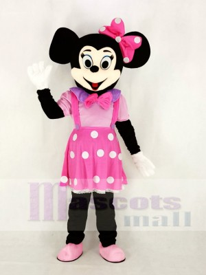 Cute Minnie Mouse in Pink Dress Mascot Costume Cartoon