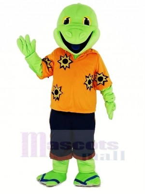 Green Lizard with Orange T-shirt Mascot Costume Cartoon