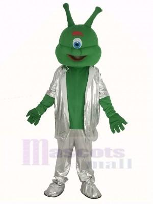 Green Alien in Silver Suit Mascot Costume