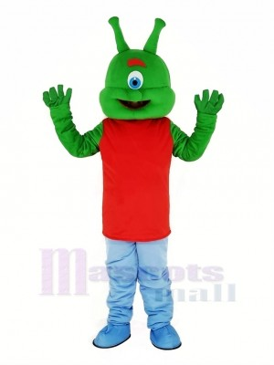 Green Alien Mascot Costume Cartoon