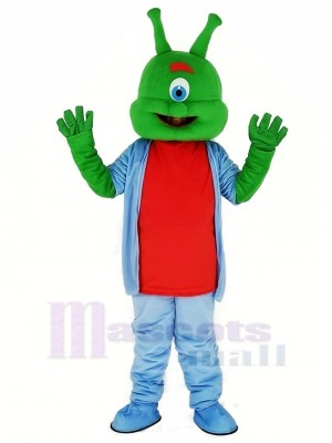 Green Alien with Blue Coat Mascot Costume Cartoon