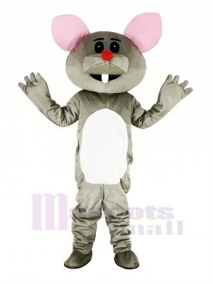 Gray Mouse with Red Nose Mascot Costume Cartoon