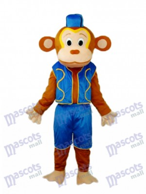 Clown Monkey in Blue Vest Mascot Adult Costume Animal