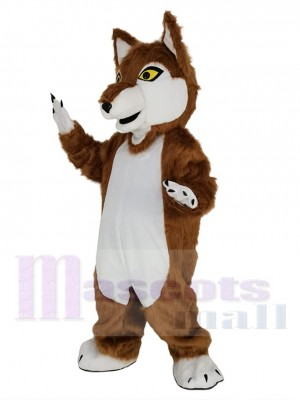 Brown Wolf with Yellow Eyes Mascot Costume Animal