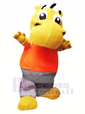 Little Cute Hippo Mascot Costume Cartoon