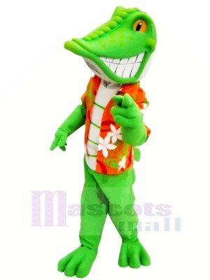 Smiling Green lizard Mascot Costume Cartoon