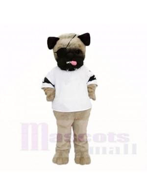 Ugly Pug Dog With White Shirt Mascot Costumes Cartoon