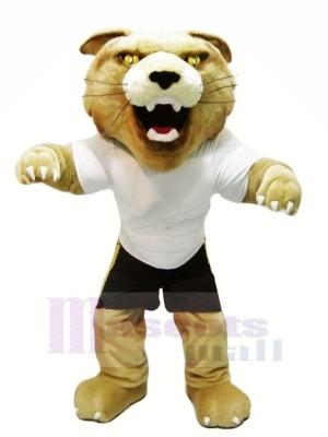 Fierce Wildcat with White T-shirt Mascot Costumes