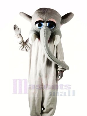 Grey Elephant with Big Eyes Mascot Costumes Cartoon