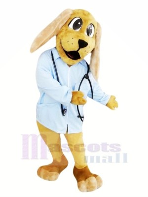 Doctor Dog with Blue Shirt Mascot Costumes Animal