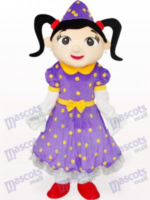 Girl in Purple Dress Cartoon Adult Mascot Costume