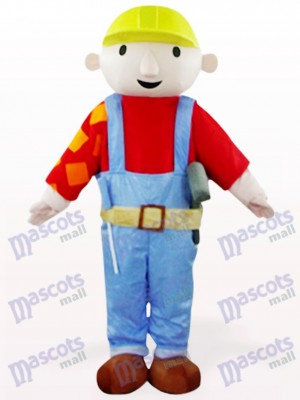 Red Maintenance Worker Bab Cartoon Mascot Costume