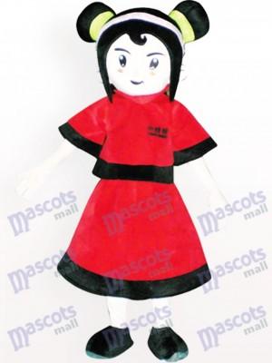 Red Dressed Girl Cartoon Adult Mascot Costume