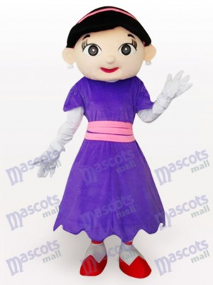 Purple Cow Girl Cartoon Adult Mascot Costume
