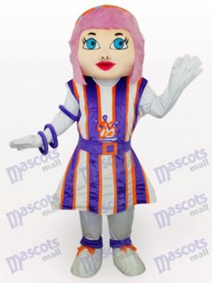Purple Hair Girl Cartoon Adult Mascot Costume