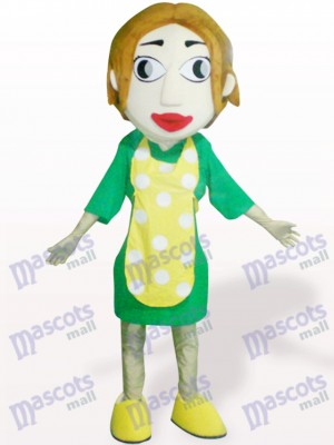 Woman With Yellow Apron Cartoon Adult Mascot Costume