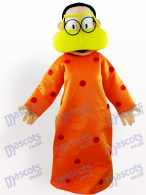 Fat Woman In Orange Clothes Cartoon Adult Mascot Costume