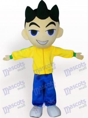 Big Head Boy In Yellow Clothes Cartoon Adult Mascot Costume
