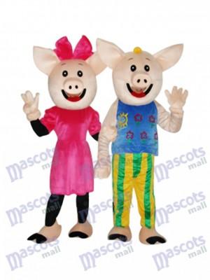 Cocoa Couple Pig Mascot Adult Costume Animal