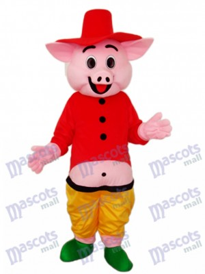 Red Hat Pig Mascot Adult Costume Animal