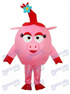 Red Round Pig Mascot Adult Costume Animal