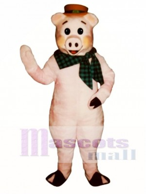 Cute State Fair Pig with Hat & Scarf Mascot Costume Animal