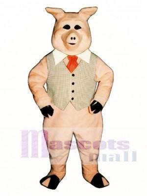 Cute Pierre Pig with Vest, Tie & Collar Mascot Costume Animal