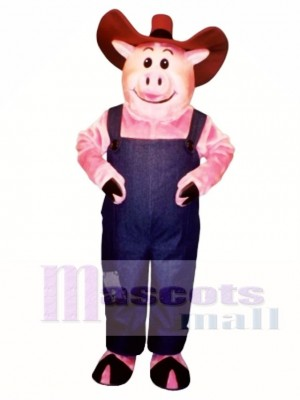 Farmer Hog with Overalls & Hat Mascot Costume Animal