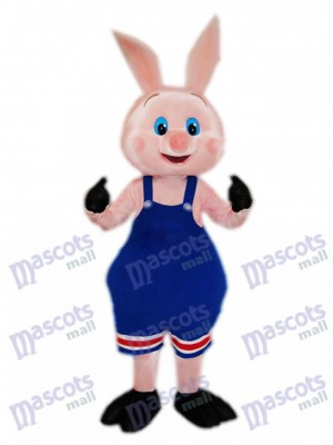 Pig Piglet Hog with Blue Overalls Mascot Costume Animal