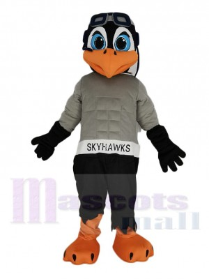 Black and Gray Skyhawk Mascot Costume