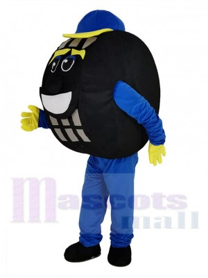 Blue and Black Auto Tyre Cab Tire Mascot Costume
