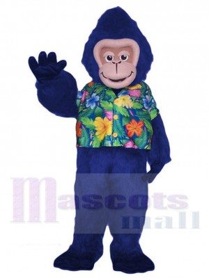 Blue Gorilla Monkey in Floral Shirt Mascot Costume