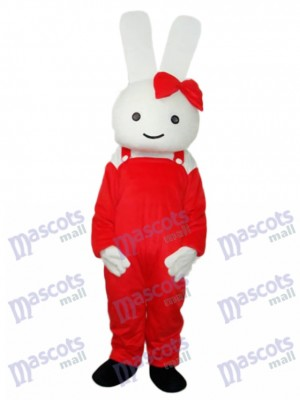 Easter Red Overall Rabbit Mascot Adult Costume Animal