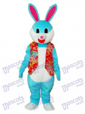 Easter Blue Rabbit in Red Vest Mascot Adult Costume Animal
