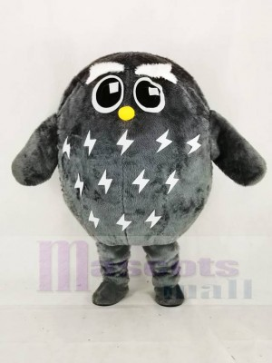 Cute Grey Owl Mascot Costume Cartoon