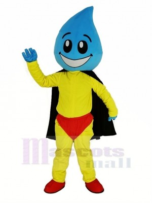 Water Drop Superman with Black Cape Mascot Costume