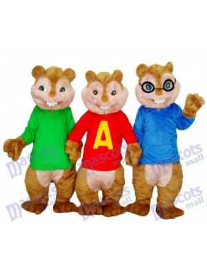 Alvin Simon and Theodore Chipmunk Mascot Adult Costume Animal