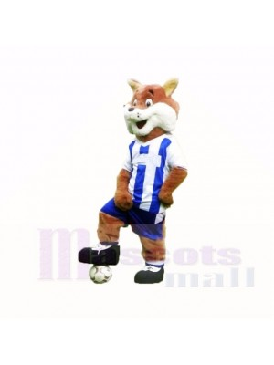 Football Fox with Blue and White Shirt Mascot Costumes Cartoon