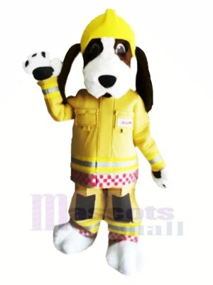 Fire Brigade Dog with Yellow Hat Mascot Costumes